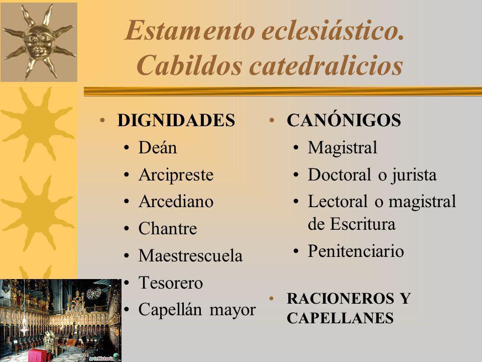 Estamento eclesiástico. Cabildos catedralicios DIGNIDADES Deán Arcipreste Arcediano Chantre Maestrescuela Tesorero Capellán mayor CANÓNIGOS Magistral