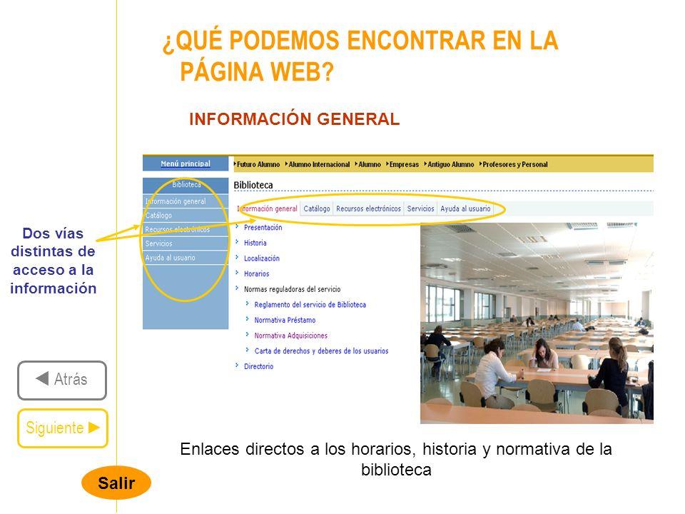 Salir ¿QUÉ PODEMOS ENCONTRAR EN LA PÁGINA WEB.