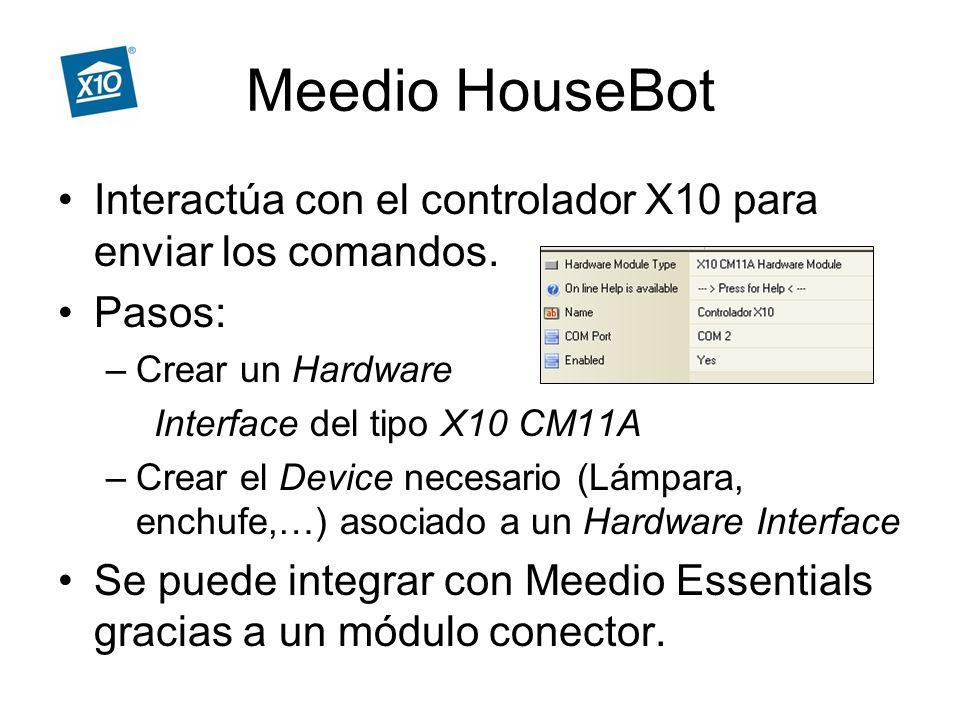 Meedio HouseBot Interactúa con el controlador X10 para enviar los comandos.