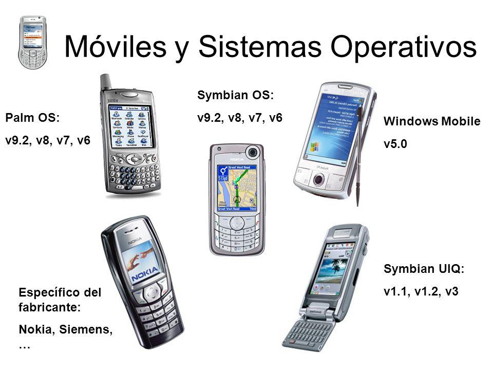 Móviles y Sistemas Operativos Específico del fabricante: Nokia, Siemens, … Palm OS: v9.2, v8, v7, v6 Symbian UIQ: v1.1, v1.2, v3 Windows Mobile v5.0 Symbian OS: v9.2, v8, v7, v6
