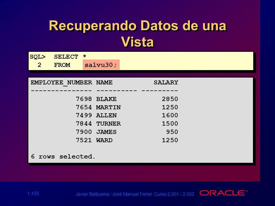 1-105 Javier Balbuena / José Manuel Ferrer. Curso 2.001 / 2.002 Recuperando Datos de una Vista EMPLOYEE_NUMBER NAME SALARY --------------- ----------