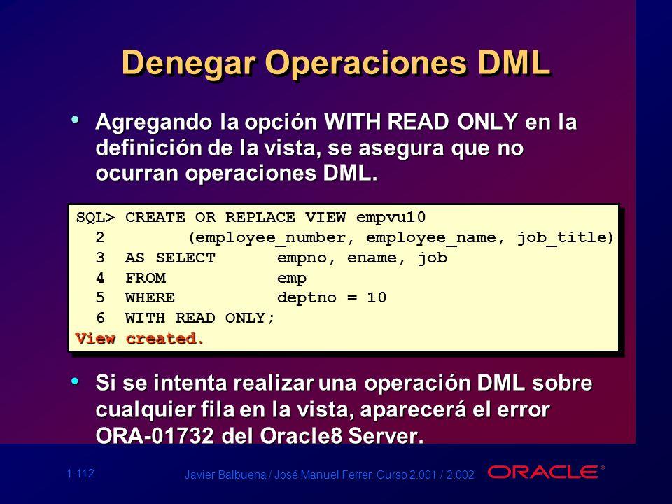 1-112 Javier Balbuena / José Manuel Ferrer. Curso 2.001 / 2.002 Denegar Operaciones DML Agregando la opción WITH READ ONLY en la definición de la vist