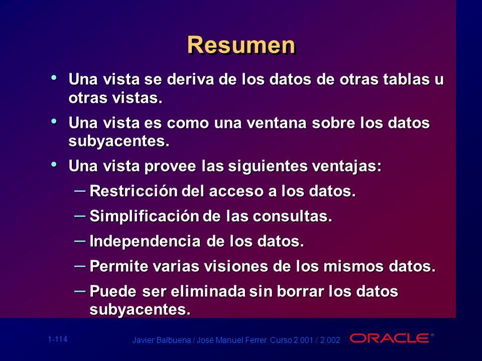 1-114 Javier Balbuena / José Manuel Ferrer. Curso 2.001 / 2.002 Resumen Una vista se deriva de los datos de otras tablas u otras vistas. Una vista se