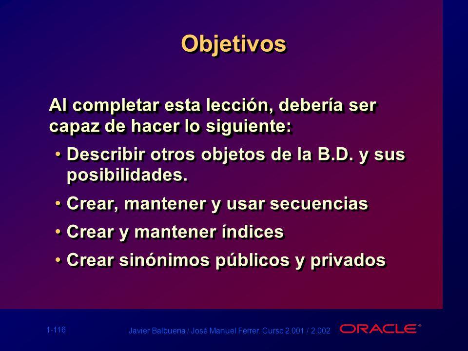 1-116 Javier Balbuena / José Manuel Ferrer. Curso 2.001 / 2.002 Objetivos Al completar esta lección, debería ser capaz de hacer lo siguiente: Describi
