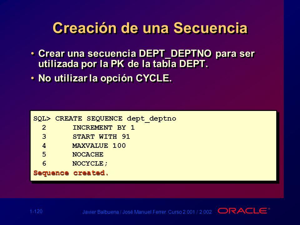1-120 Javier Balbuena / José Manuel Ferrer. Curso 2.001 / 2.002 Creación de una Secuencia Crear una secuencia DEPT_DEPTNO para ser utilizada por la PK
