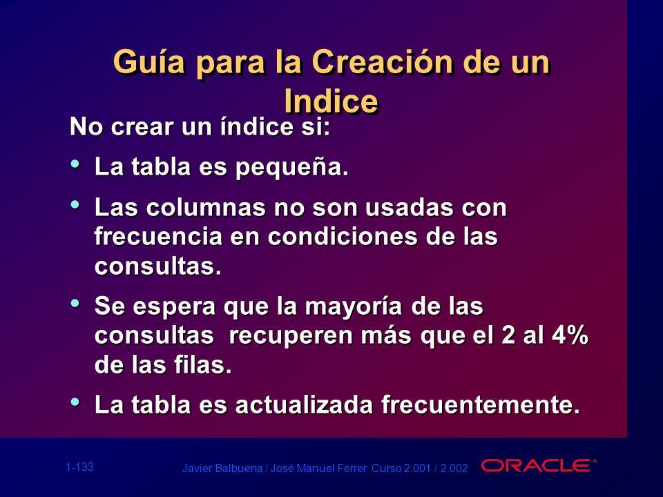 1-133 Javier Balbuena / José Manuel Ferrer. Curso 2.001 / 2.002 Guía para la Creación de un Indice No crear un índice si: La tabla es pequeña. La tabl