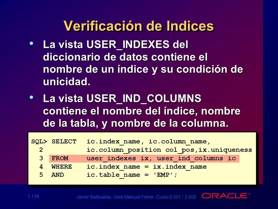 1-134 Javier Balbuena / José Manuel Ferrer. Curso 2.001 / 2.002 Verificación de Indices La vista USER_INDEXES del diccionario de datos contiene el nom