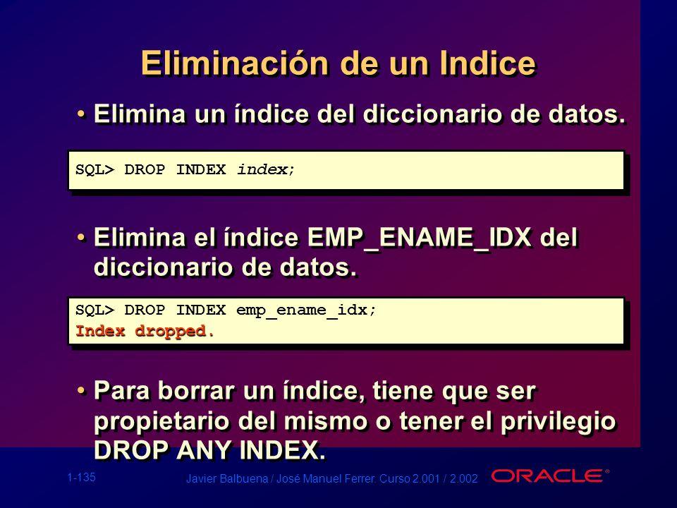 1-135 Javier Balbuena / José Manuel Ferrer. Curso 2.001 / 2.002 Eliminación de un Indice Elimina un índice del diccionario de datos. Elimina el índice