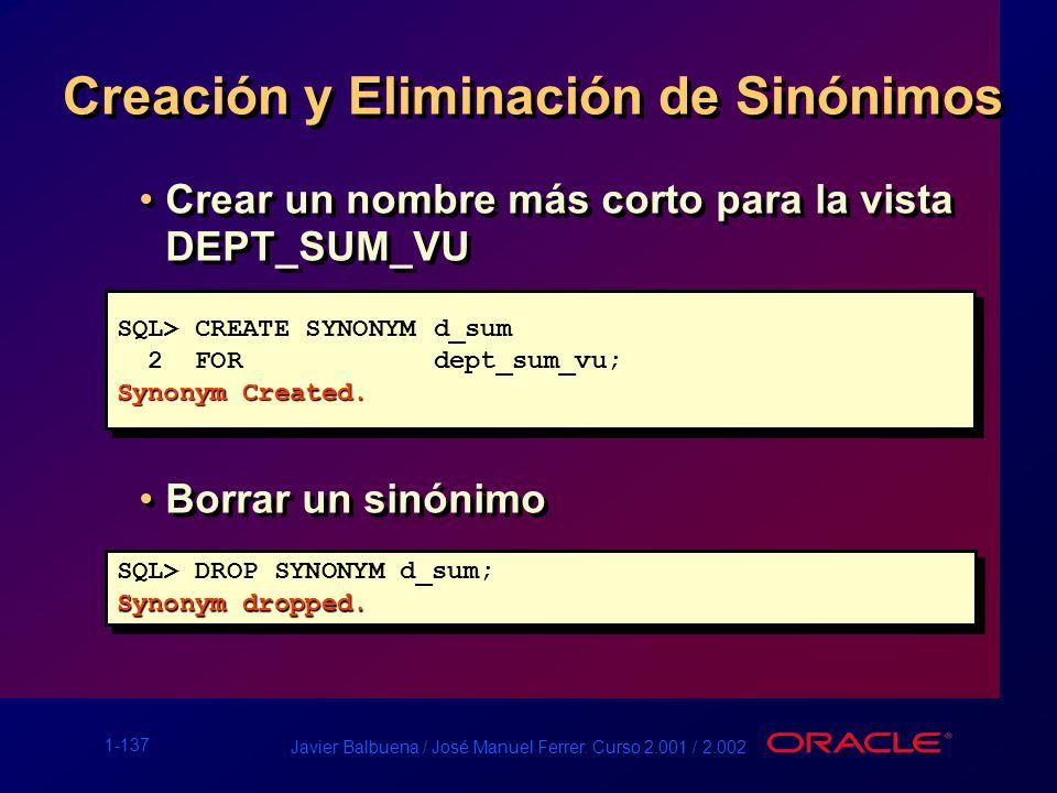 1-137 Javier Balbuena / José Manuel Ferrer. Curso 2.001 / 2.002 Creación y Eliminación de Sinónimos SQL> CREATE SYNONYMd_sum 2 FORdept_sum_vu; Synonym