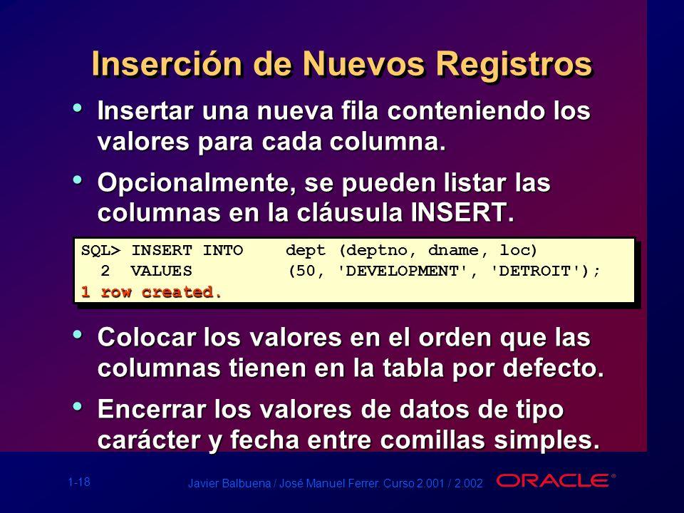 1-18 Javier Balbuena / José Manuel Ferrer. Curso 2.001 / 2.002 Inserción de Nuevos Registros Insertar una nueva fila conteniendo los valores para cada