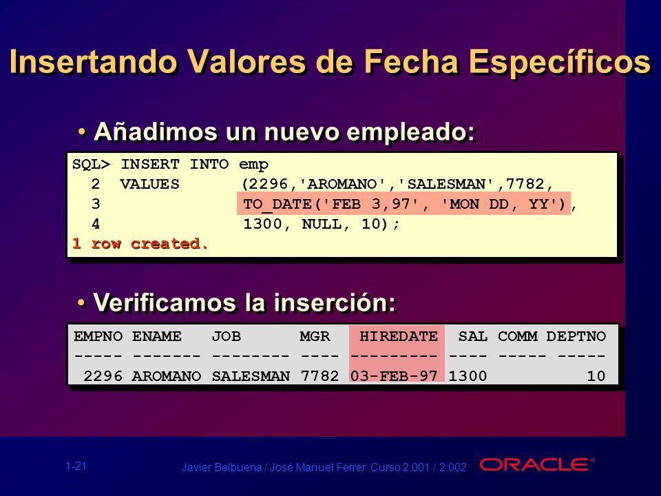 1-21 Javier Balbuena / José Manuel Ferrer. Curso 2.001 / 2.002 Insertando Valores de Fecha Específicos Añadimos un nuevo empleado: SQL> INSERT INTO em
