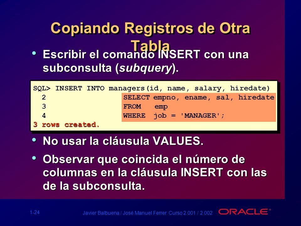 1-24 Javier Balbuena / José Manuel Ferrer. Curso 2.001 / 2.002 Copiando Registros de Otra Tabla Escribir el comando INSERT con una subconsulta (subque