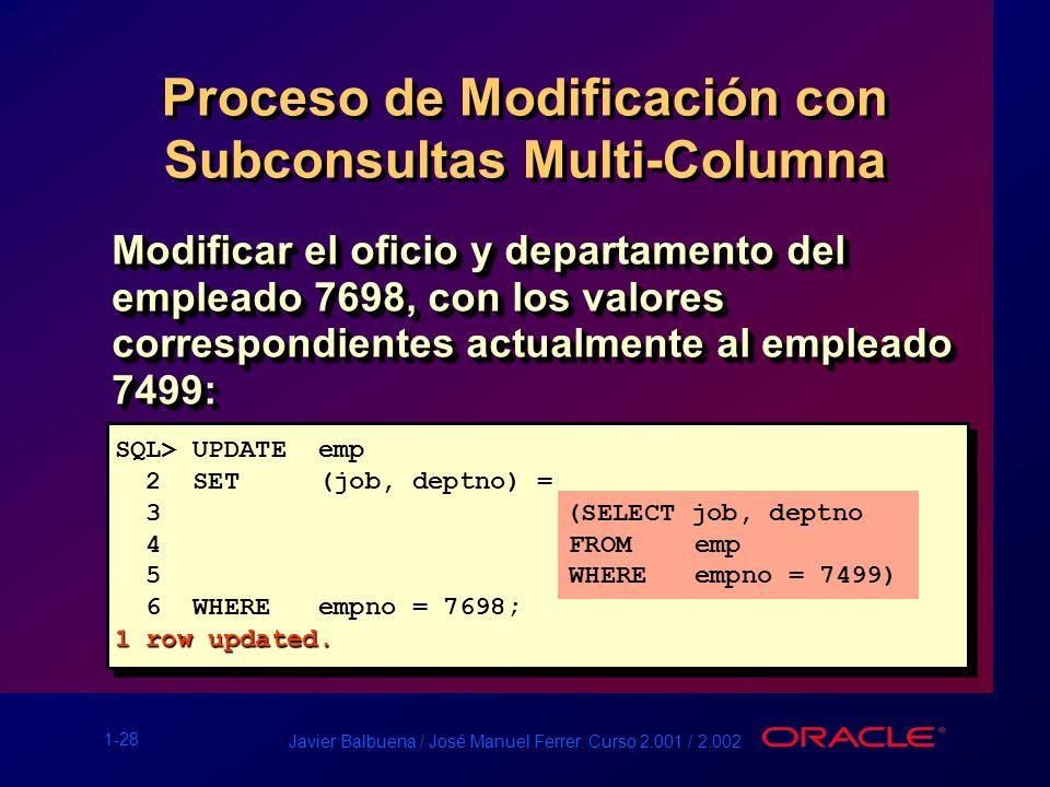 1-28 Javier Balbuena / José Manuel Ferrer. Curso 2.001 / 2.002 Proceso de Modificación con Subconsultas Multi-Columna SQL> UPDATE emp 2 SET (job, dept