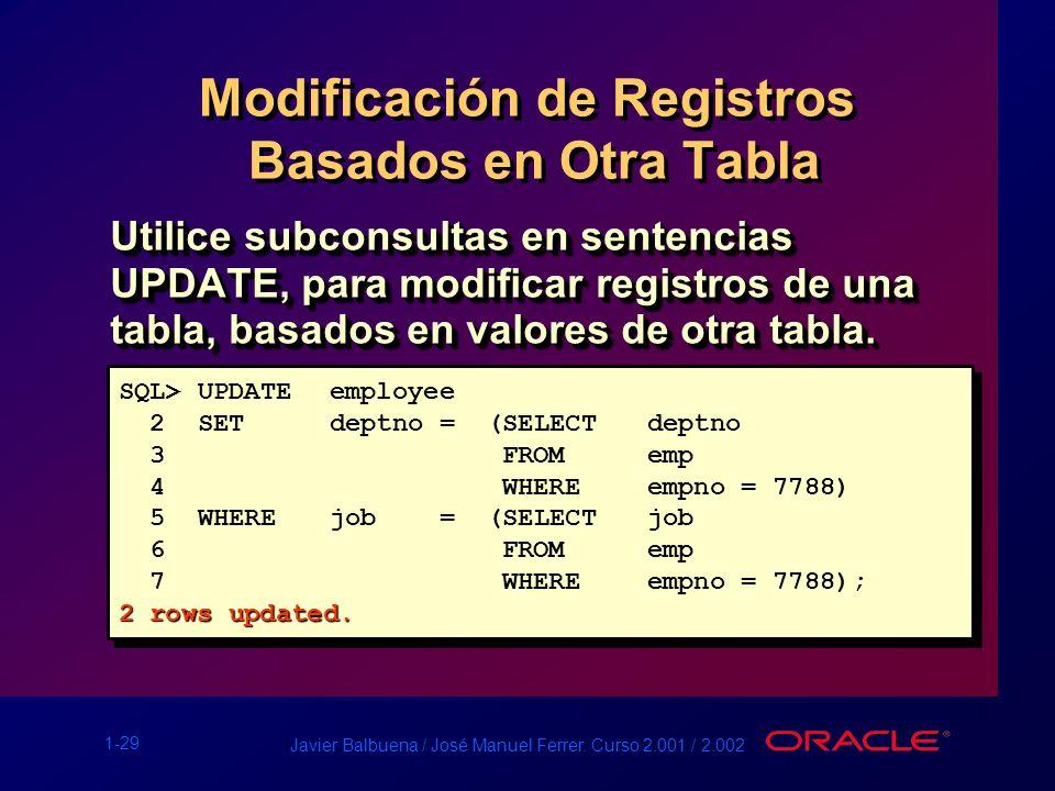 1-29 Javier Balbuena / José Manuel Ferrer. Curso 2.001 / 2.002 Modificación de Registros Basados en Otra Tabla Utilice subconsultas en sentencias UPDA