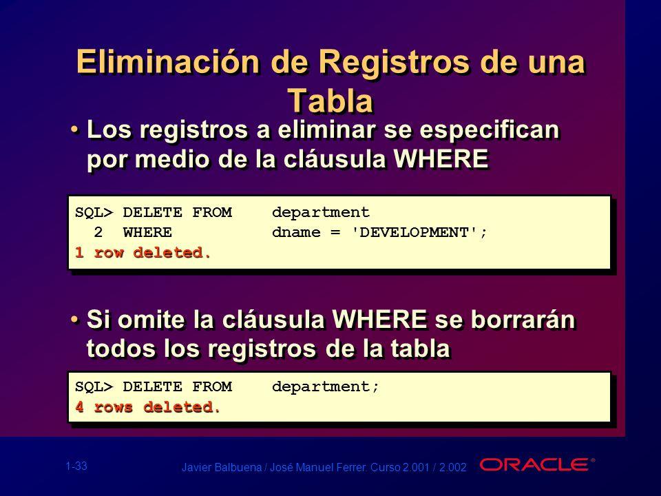 1-33 Javier Balbuena / José Manuel Ferrer. Curso 2.001 / 2.002 Los registros a eliminar se especifican por medio de la cláusula WHERE Si omite la cláu