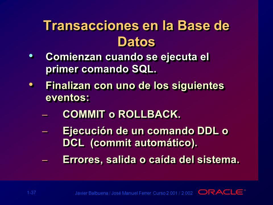 1-37 Javier Balbuena / José Manuel Ferrer. Curso 2.001 / 2.002 Transacciones en la Base de Datos Comienzan cuando se ejecuta el primer comando SQL. Co