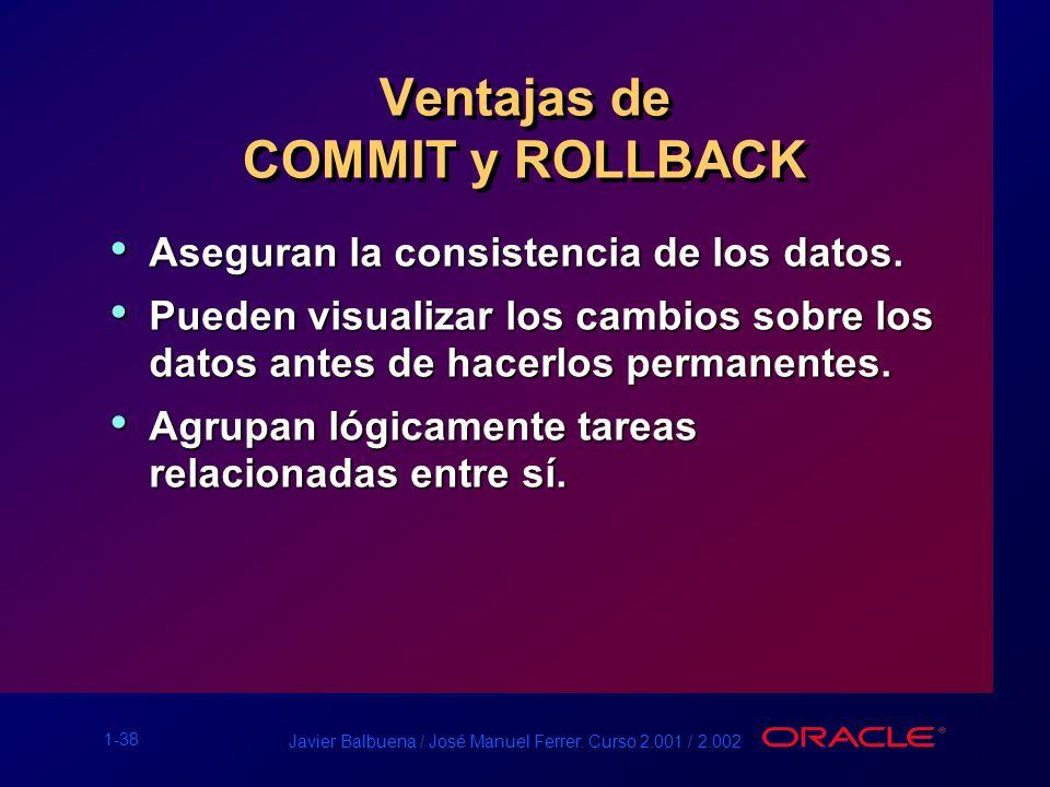 1-38 Javier Balbuena / José Manuel Ferrer. Curso 2.001 / 2.002 Ventajas de COMMIT y ROLLBACK Aseguran la consistencia de los datos. Aseguran la consis
