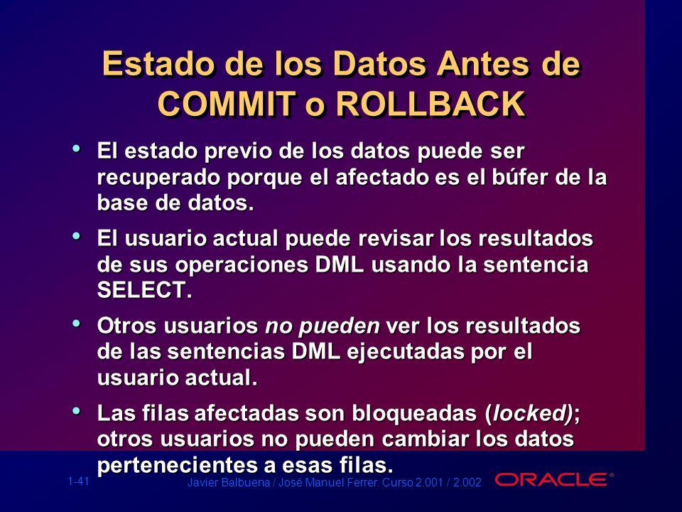 1-41 Javier Balbuena / José Manuel Ferrer. Curso 2.001 / 2.002 Estado de los Datos Antes de COMMIT o ROLLBACK El estado previo de los datos puede ser