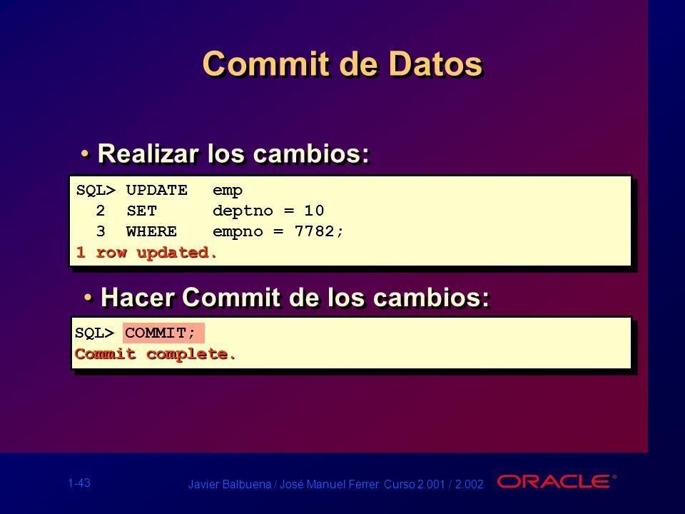 1-43 Javier Balbuena / José Manuel Ferrer. Curso 2.001 / 2.002 Commit de Datos SQL> UPDATEemp 2 SET deptno = 10 3 WHEREempno = 7782; 1 row updated. SQ