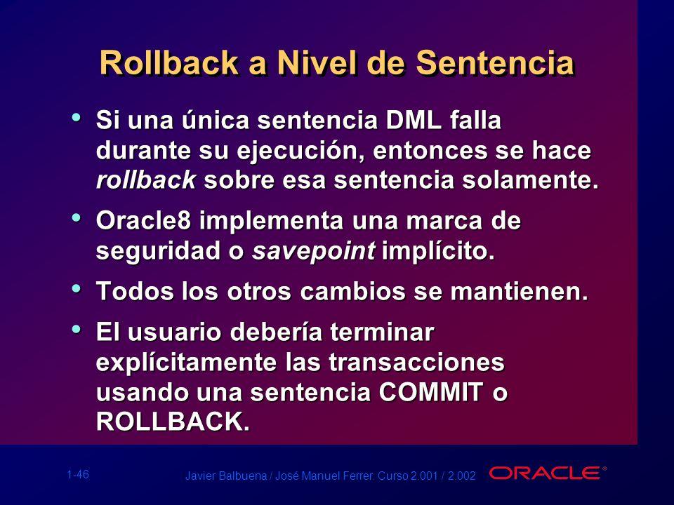 1-46 Javier Balbuena / José Manuel Ferrer. Curso 2.001 / 2.002 Rollback a Nivel de Sentencia Si una única sentencia DML falla durante su ejecución, en