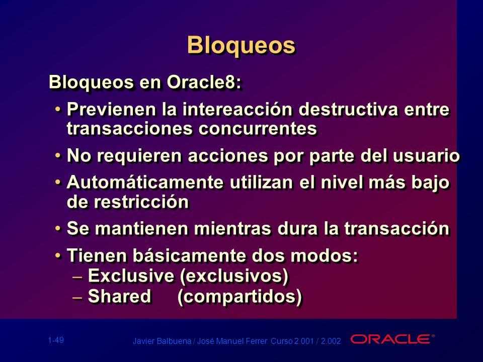 1-49 Javier Balbuena / José Manuel Ferrer. Curso 2.001 / 2.002 Bloqueos Bloqueos en Oracle8: Previenen la intereacción destructiva entre transacciones