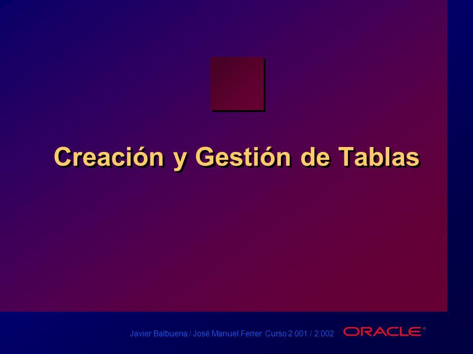 Javier Balbuena / José Manuel Ferrer. Curso 2.001 / 2.002 Creación y Gestión de Tablas