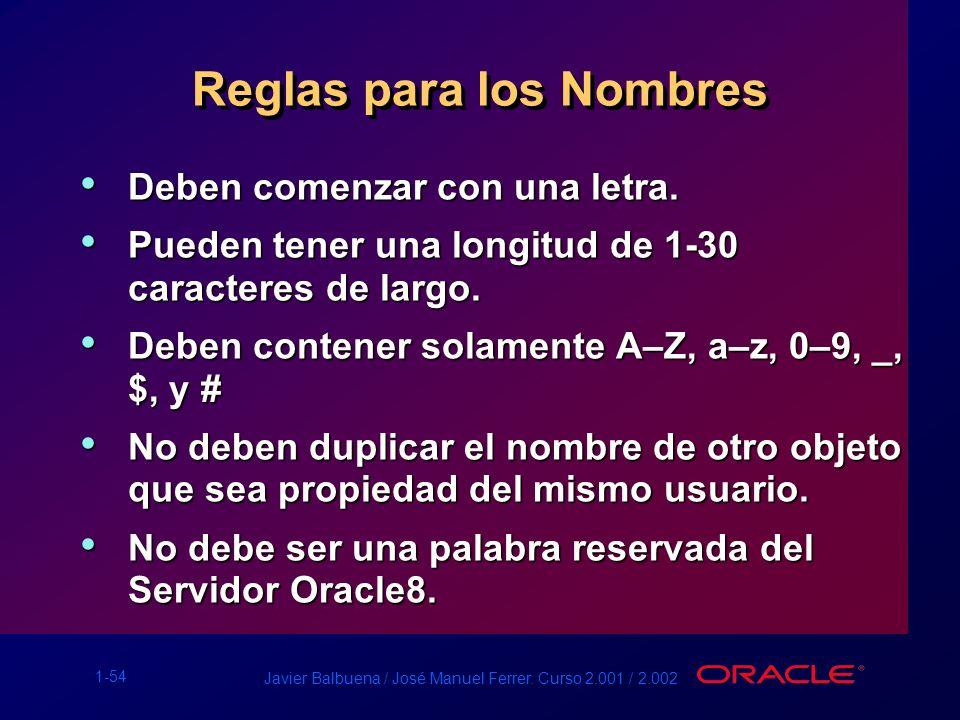 1-54 Javier Balbuena / José Manuel Ferrer. Curso 2.001 / 2.002 Reglas para los Nombres Deben comenzar con una letra. Deben comenzar con una letra. Pue