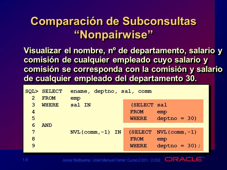 1-6 Javier Balbuena / José Manuel Ferrer. Curso 2.001 / 2.002 Comparación de Subconsultas Nonpairwise SQL> SELECT ename, deptno, sal, comm 2 FROM emp