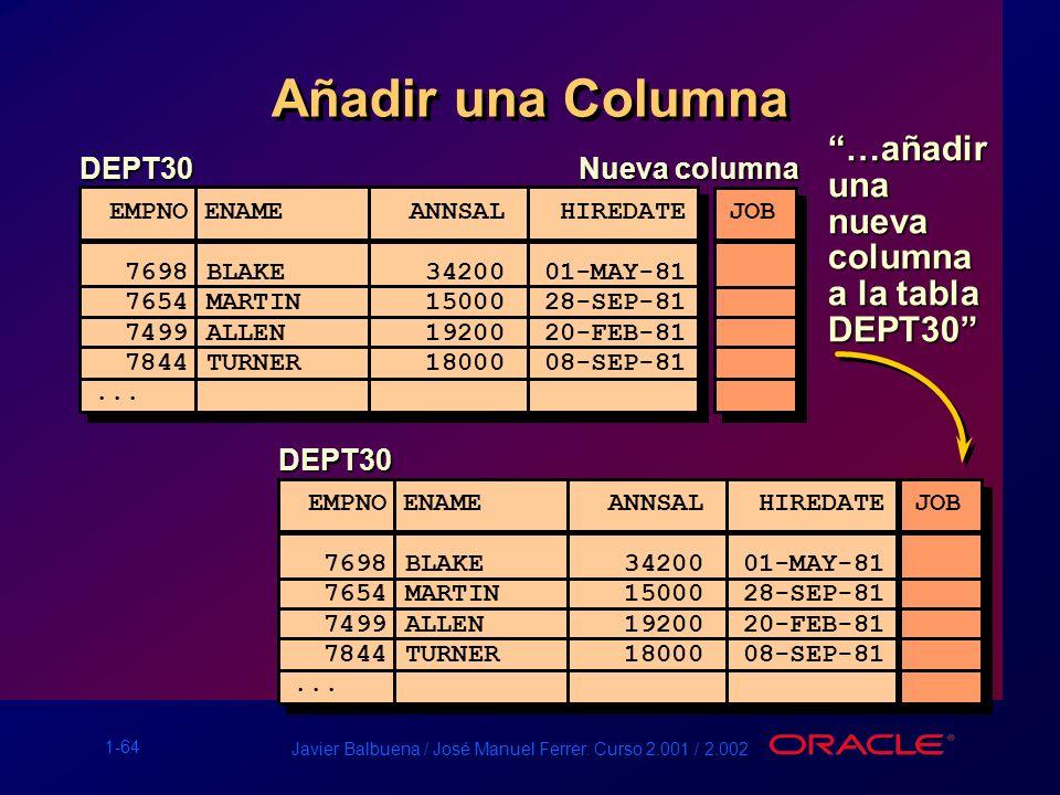 1-64 Javier Balbuena / José Manuel Ferrer. Curso 2.001 / 2.002 Añadir una Columna DEPT30 EMPNO ENAME ANNSAL HIREDATE ------ ------------------ 7698BLA