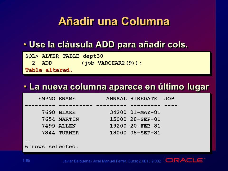 1-65 Javier Balbuena / José Manuel Ferrer. Curso 2.001 / 2.002 Añadir una Columna Use la cláusula ADD para añadir cols. EMPNO ENAME ANNSAL HIREDATE JO