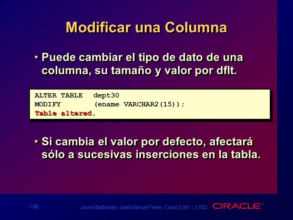 1-66 Javier Balbuena / José Manuel Ferrer. Curso 2.001 / 2.002 Modificar una Columna Puede cambiar el tipo de dato de una columna, su tamaño y valor p