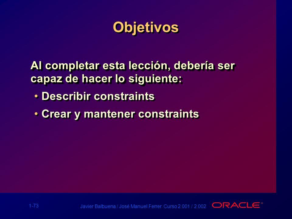 1-73 Javier Balbuena / José Manuel Ferrer. Curso 2.001 / 2.002 Objetivos Al completar esta lección, debería ser capaz de hacer lo siguiente: Describir