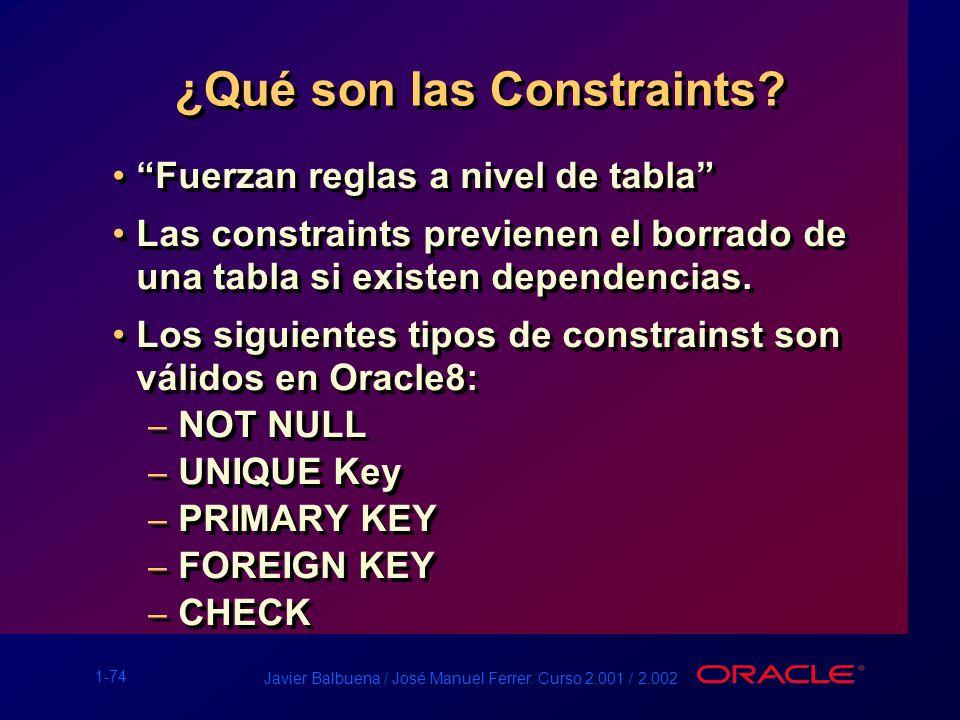 1-74 Javier Balbuena / José Manuel Ferrer. Curso 2.001 / 2.002 ¿Qué son las Constraints? Fuerzan reglas a nivel de tabla Las constraints previenen el