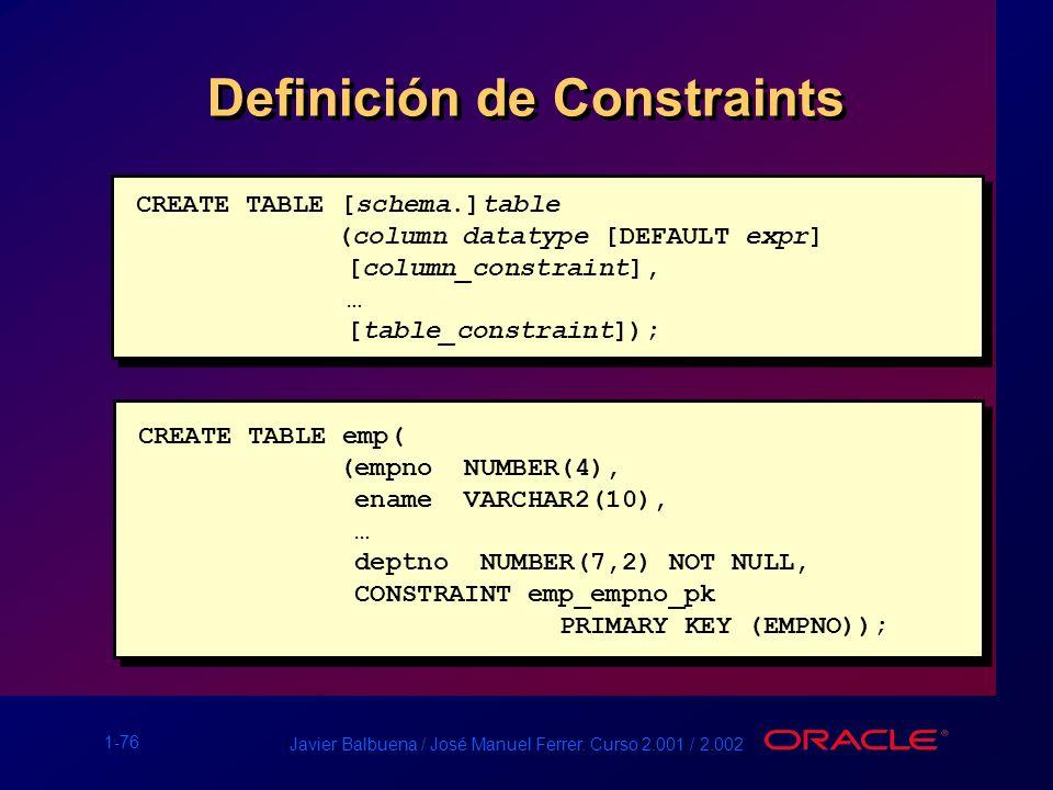 1-76 Javier Balbuena / José Manuel Ferrer. Curso 2.001 / 2.002 Definición de Constraints CREATE TABLE [schema.]table (column datatype [DEFAULT expr] [