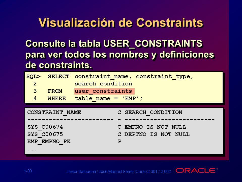 1-93 Javier Balbuena / José Manuel Ferrer. Curso 2.001 / 2.002 Visualización de Constraints Consulte la tabla USER_CONSTRAINTS para ver todos los nomb