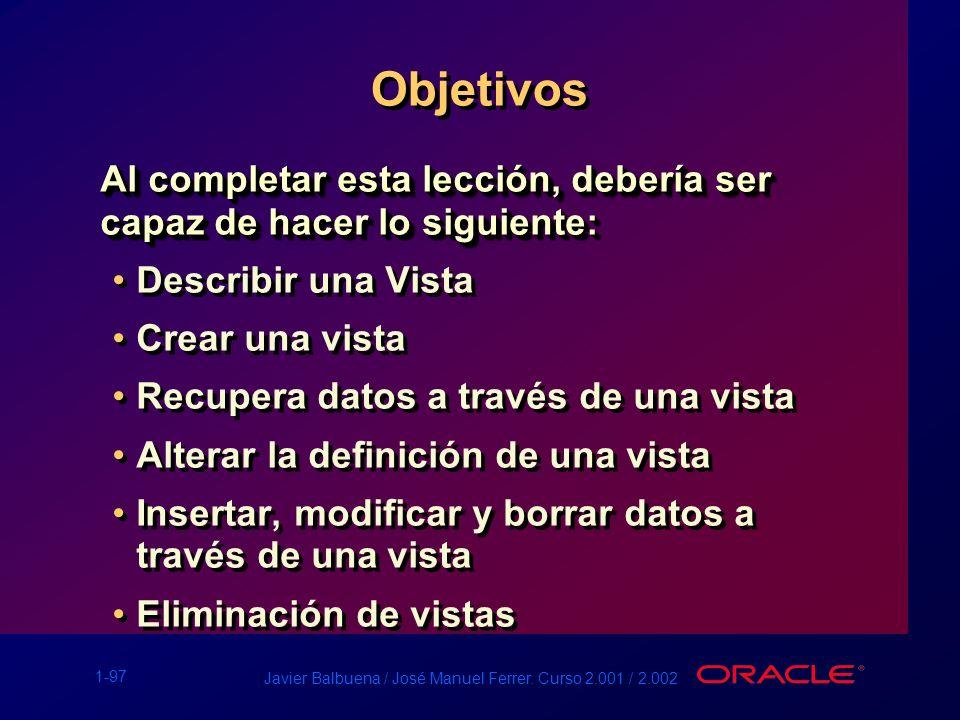 1-97 Javier Balbuena / José Manuel Ferrer. Curso 2.001 / 2.002 Objetivos Al completar esta lección, debería ser capaz de hacer lo siguiente: Describir