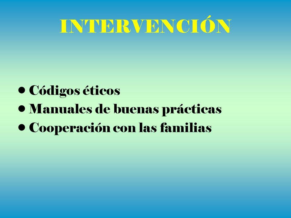 Códigos éticos Manuales de buenas prácticas Cooperación con las familias
