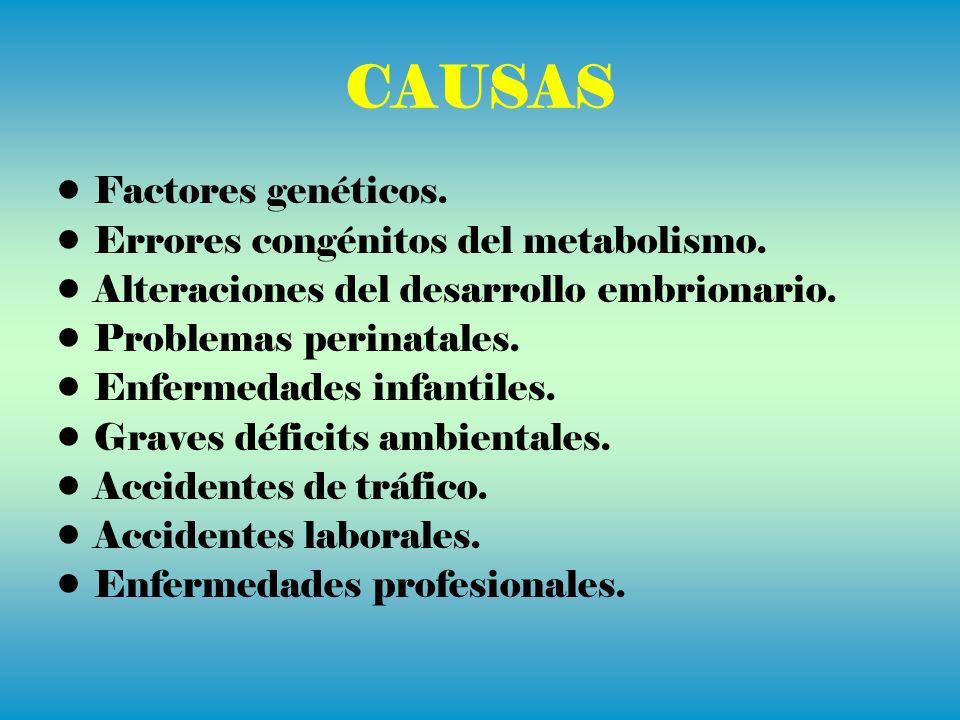 CAUSAS Factores genéticos. Errores congénitos del metabolismo. Alteraciones del desarrollo embrionario. Problemas perinatales. Enfermedades infantiles