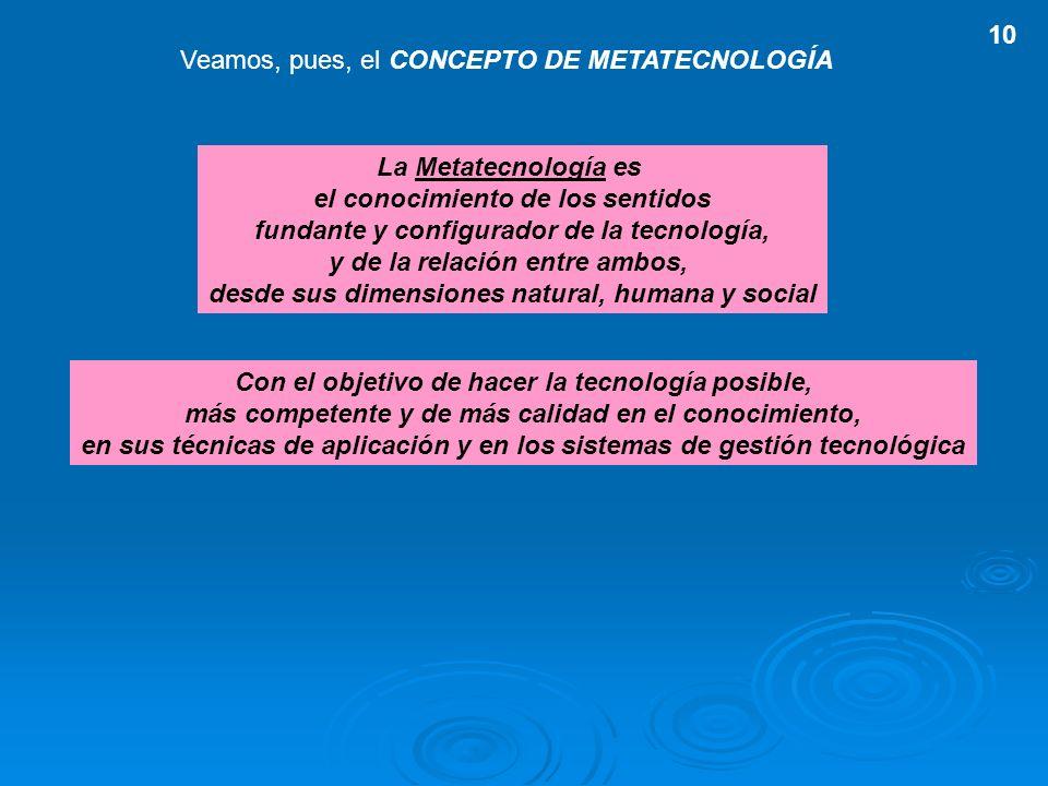 Veamos, pues, el CONCEPTO DE METATECNOLOGÍA La Metatecnología es el conocimiento de los sentidos fundante y configurador de la tecnología, y de la rel