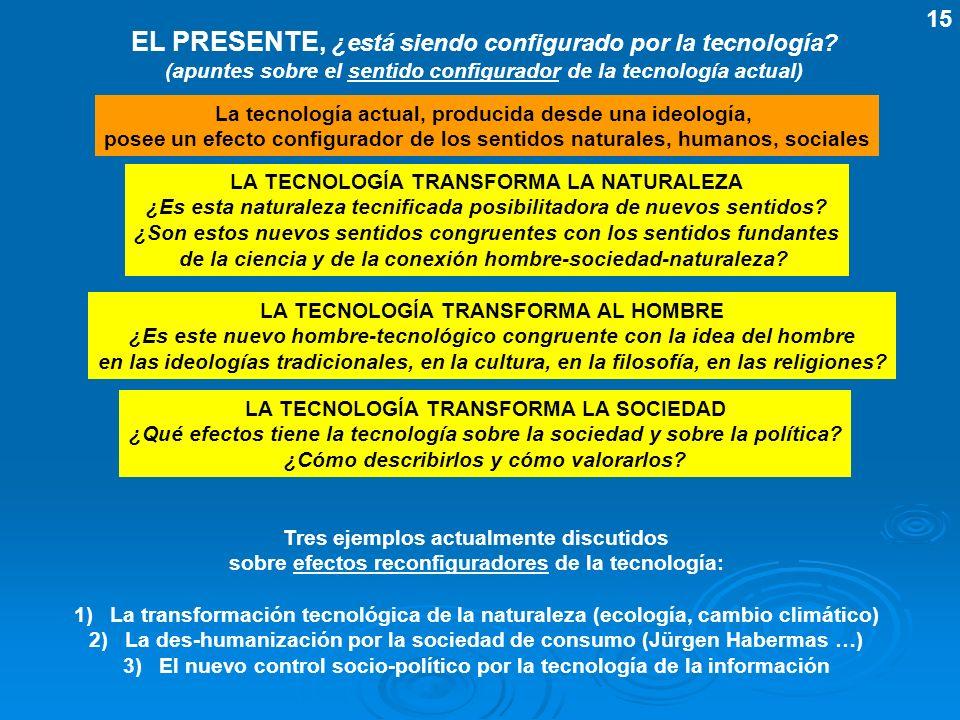 EL PRESENTE, ¿está siendo configurado por la tecnología? (apuntes sobre el sentido configurador de la tecnología actual) La tecnología actual, produci