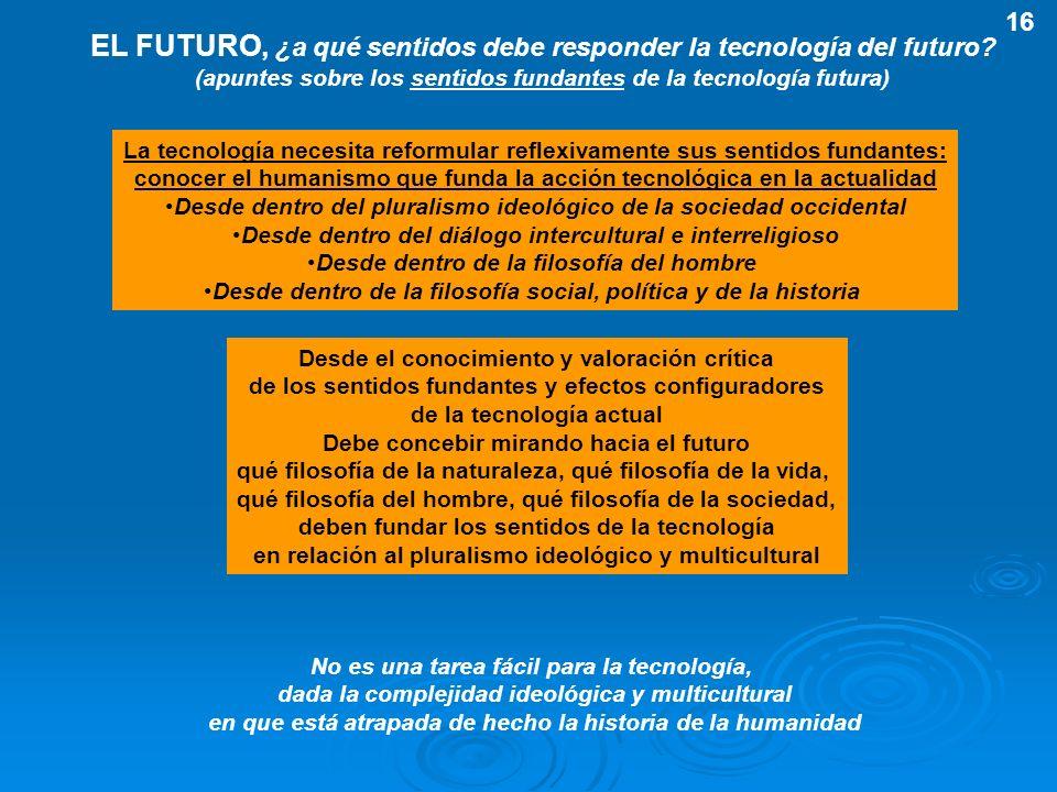 EL FUTURO, ¿a qué sentidos debe responder la tecnología del futuro? (apuntes sobre los sentidos fundantes de la tecnología futura) La tecnología neces