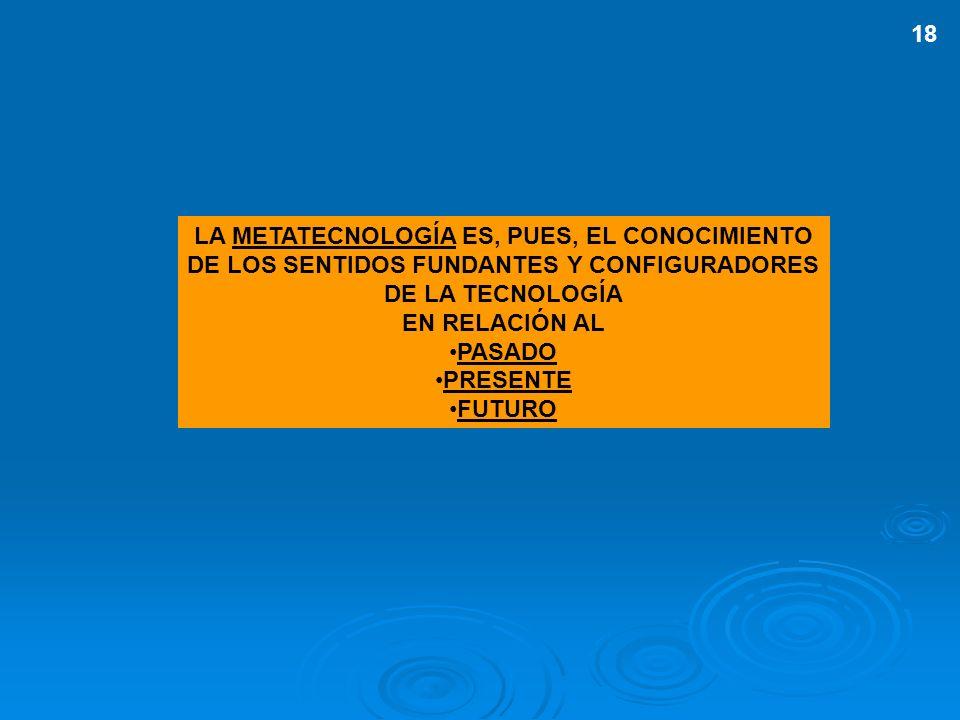 LA METATECNOLOGÍA ES, PUES, EL CONOCIMIENTO DE LOS SENTIDOS FUNDANTES Y CONFIGURADORES DE LA TECNOLOGÍA EN RELACIÓN AL PASADO PRESENTE FUTURO 18