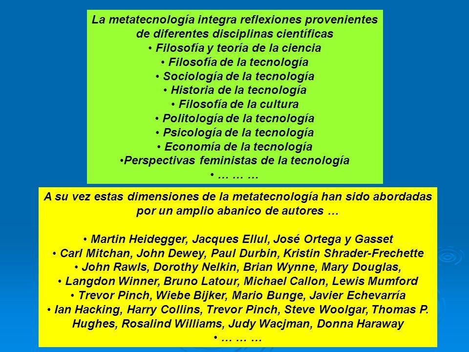 La metatecnología integra reflexiones provenientes de diferentes disciplinas científicas Filosofía y teoría de la ciencia Filosofía de la tecnología S