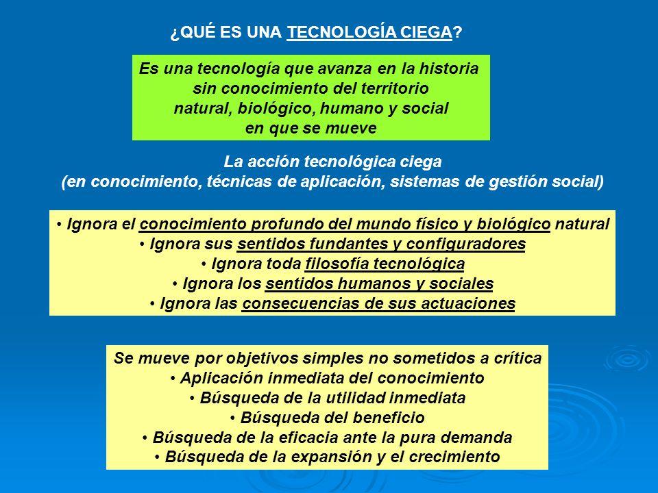 ¿QUÉ ES UNA TECNOLOGÍA CIEGA? Es una tecnología que avanza en la historia sin conocimiento del territorio natural, biológico, humano y social en que s