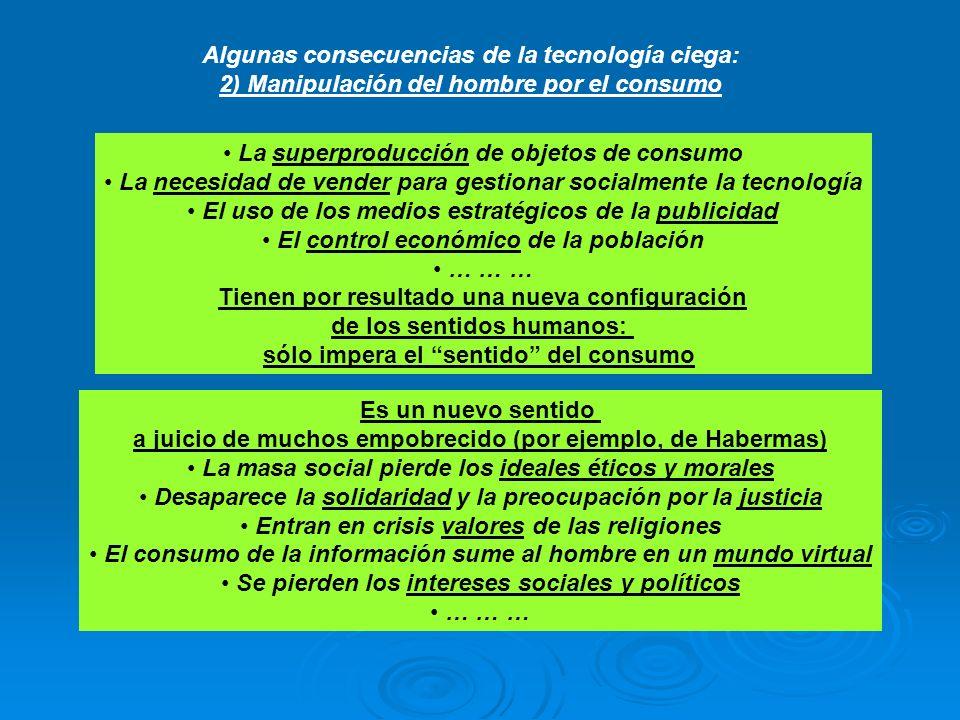 Algunas consecuencias de la tecnología ciega: 2) Manipulación del hombre por el consumo La superproducción de objetos de consumo La necesidad de vende
