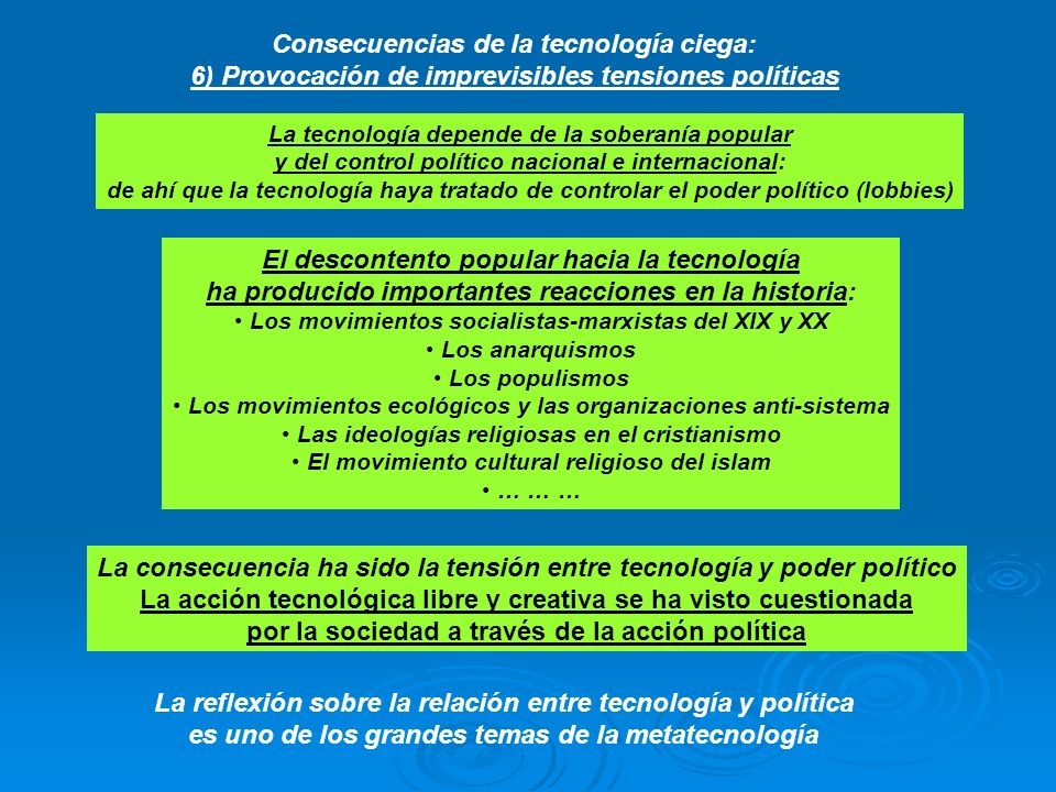 Consecuencias de la tecnología ciega: 6) Provocación de imprevisibles tensiones políticas La tecnología depende de la soberanía popular y del control