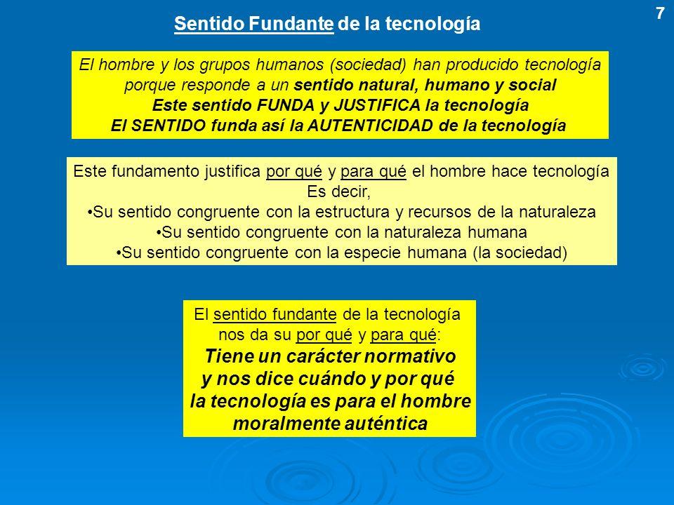 Sentido Fundante de la tecnología El hombre y los grupos humanos (sociedad) han producido tecnología porque responde a un sentido natural, humano y so
