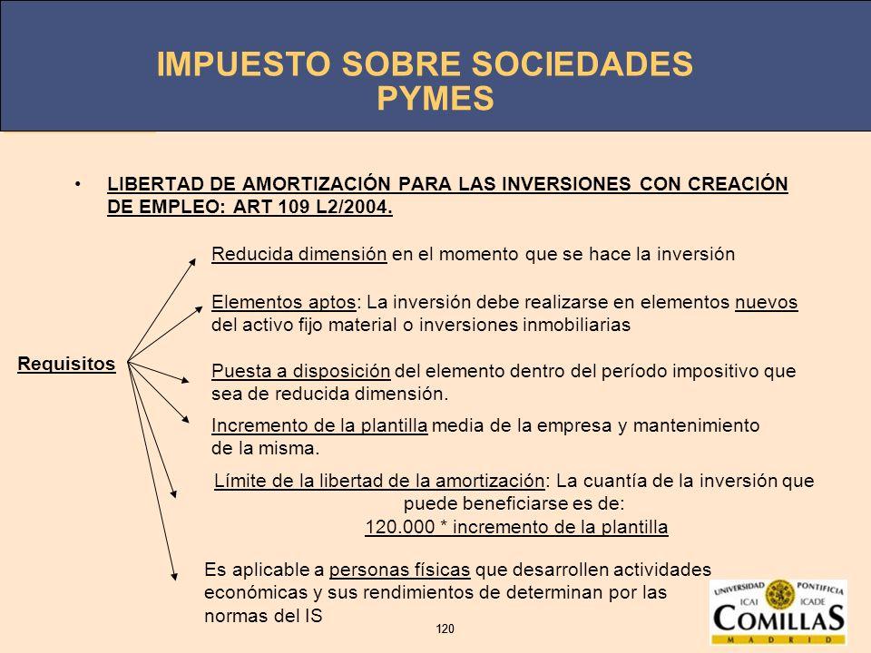 IMPUESTO SOBRE SOCIEDADES 120 IMPUESTO SOBRE SOCIEDADES 120 PYMES LIBERTAD DE AMORTIZACIÓN PARA LAS INVERSIONES CON CREACIÓN DE EMPLEO: ART 109 L2/200