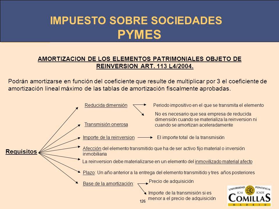 IMPUESTO SOBRE SOCIEDADES 126 IMPUESTO SOBRE SOCIEDADES 126 PYMES AMORTIZACION DE LOS ELEMENTOS PATRIMONIALES OBJETO DE REINVERSION ART. 113 L4/2004.