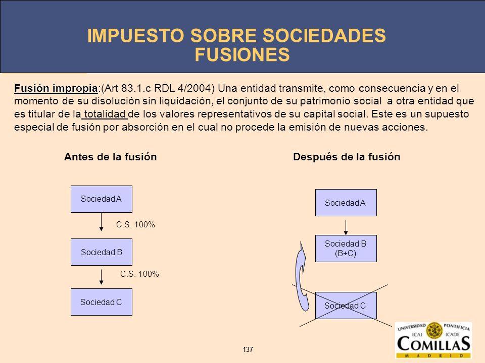 IMPUESTO SOBRE SOCIEDADES 137 IMPUESTO SOBRE SOCIEDADES 137 FUSIONES Antes de la fusiónDespués de la fusión Sociedad A Sociedad B Sociedad C Sociedad